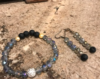Bracelet and earring set essential oil diffuser jewelry, use oils of choice, used for calming-intense-energy-emotions