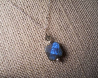 Labradorite sterling silver necklace...Lots of Blue flash