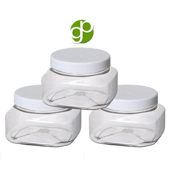 8 Oz Clear Square Plastic PET BPA Free Jar w White Plastic