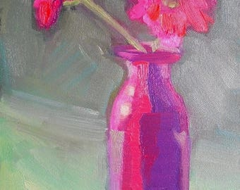 "Pink Flower Painting, Floral Still Life, Small oil painting, 6x8"" Oil On Panel, Free Shipping in US"