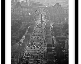 The Champs Elysee, Paris, France. Black and White Fine Art Photograph printed on 308gsm Hahnemuhle fine art paper (Unmatted)