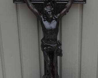 Christ on Iron Cross, Antique French Cast Iron Cross with Jesus, Jesus on Iron Cross, Standing Crucifix, French Religious Decor, Lamb of God