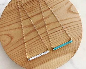 Mother's Day Gift, White Marble, Turquoise, Bar Necklace