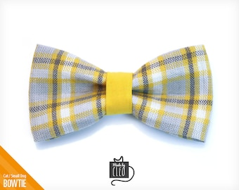 """Pet Bow Tie - """"Boardwalk"""" - Yellow and Gray Plaid Detachable Bowtie for Cats + Dogs"""
