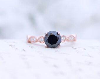 Rose Gold Black Engagement Ring - Art Deco Ring - Promise Ring - Vintage Ring - Wedding Ring - Round Cut Ring - Sterling Silver