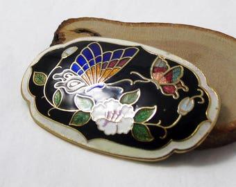 Vintage Cloisonne Brooch, Butterfly Brooch, Enamel Brooch, Flower Pin, Black Brooch, Flower and Butterfly Pin, 1980s