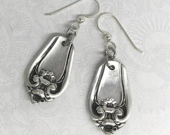 """Antique Spoon Earrings, Silverware Earrings, Silverware Jewelry, """"Leyland"""" 1910"""