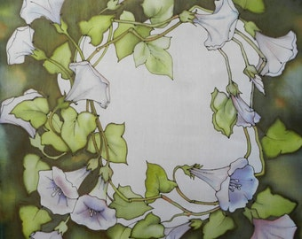 Hand painted silk scarf.Green and white scarf. Made to order!