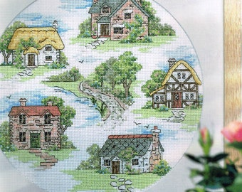 English Cottage Sampler Cross Stitch - Summer Garden Cottage Pattern - House Cross Stitch