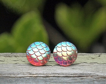 Iridescent Dragon Scale Studs, Frost Pink Shimmer Scales, Stainless Steel or Titanium Posts, 12mm