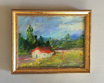 European Landscape - Framed Oil Painting -5 x 7  Handmounted  linen on hardboard- Professionally Framed in gold- Original Painting