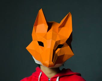 Fox Mask, Fox Head, papercraft,DIY New Year Mask, 3D Polygon Masks, Printable Mask,Halloween Mask