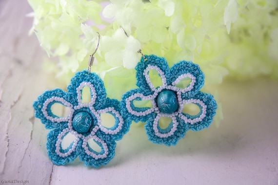 Crochet earrings, blue flower dangle earrings with beads