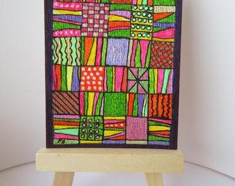 """Patchwork lisse Quilt Design ACEO coloré 2.5 """"X 3,5"""" peinture dessin original"""