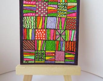 "Patchwork Split Rail Quilt Design ACEO original colorful 2.5"" X 3.5"" painting drawing"