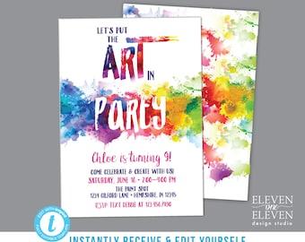 Art birthday party etsy art birthday party invitation editable printable paint splatter invite pottery painting rainbow watercolor brush canvas painting stopboris Gallery