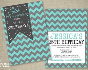 Teal Blue Surprise 18th 30th 40th 25th Birthday Invitation Feminine Fun Invite Double Sided 5x7 Printable Invite JPEG file 246