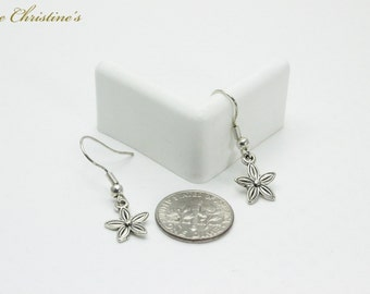 Alana - one of our lightest earrings, weighing less than 1 gram, flower dangle, on stainless steel hooks. - TZE010198