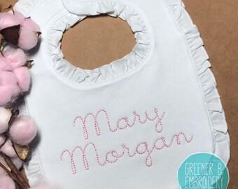 Personalized Bib / Monogrammed Ruffle Bib / Girl's Personalized Bib / Baby Shower Gift / Baby Girl Gift / Baby Monogram / Christening bib