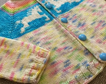 Hand knit unicorn cardigan 6-12 months and 1-2 years