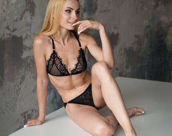 Black Lace lingerie, sexy lingerie, black lace lingerie, see through lingerie, strappy lingerie set, boudoir lingerie set