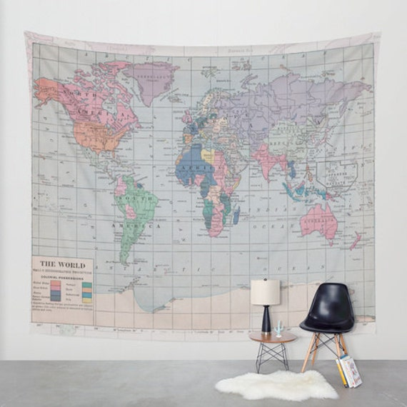 World map shower curtain historical map fabric curtain like this item gumiabroncs Image collections