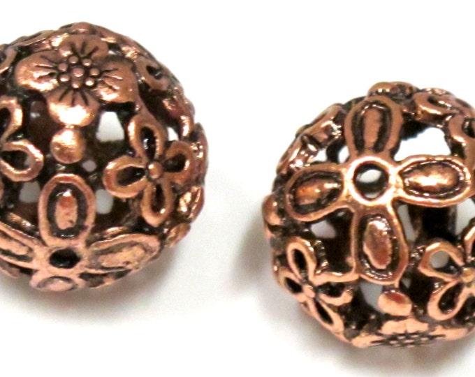 2 Beads  - Large filigree floral cut design copper tone metal beads 18 mm - BD753