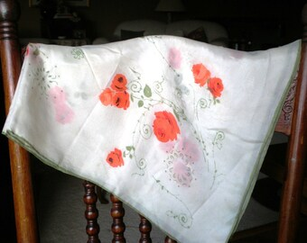 Vintage Scarf - Floral - for Summer - for Autumn