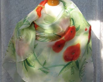 Meadow - hand painted silk scarf