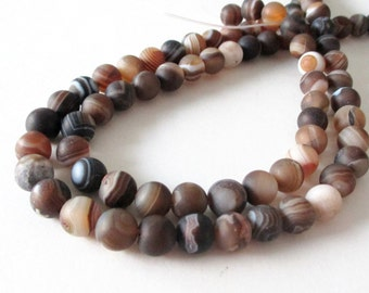 "Madagascar Matte Swirl Beads - Round Agate Gemstone Beads - Brown Smooth Striped Natural Beads - 8mm - 16"" Strand - DIY Unisex Bracelet"