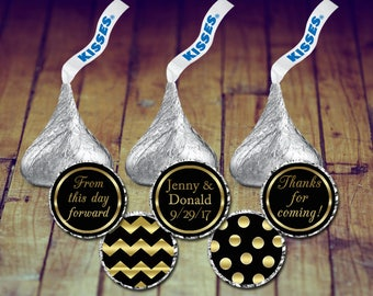 Hershey Kiss Stickers Wedding, Hershey Kiss Stickers, Gold Wedding Stickers, Kisses Labels, Black and Gold Wedding, Kisses Stickers