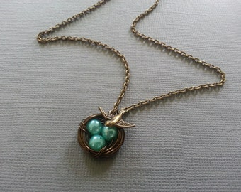 Turquoise Bird's Nest Necklace