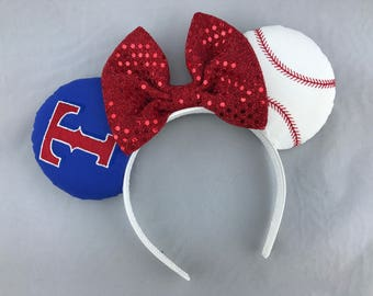 Texas Ranger Baseball Team Minnie Mouse Ears