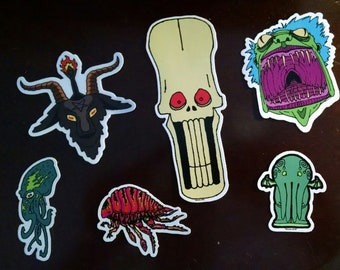 Set of six stickers! Chibi Cthulhu, Mind flayer, Smiley Skull, Demon Snake Granny, Baphomet, Neon Waterbug