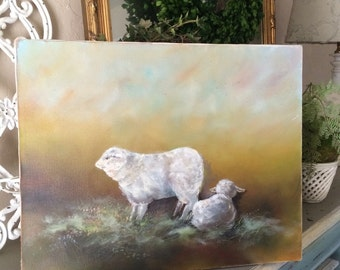 Vintage Sheep Oil Painting on Canvas