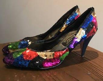 Multi-colored sequins heels