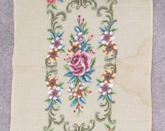 Large Preworked Needlepoint Canvas, Floral Needlepoint Embroidered Tapestry