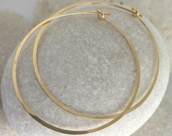 Large Gold Hoop Earrings Hammered in Solid 14K or Gold Fill