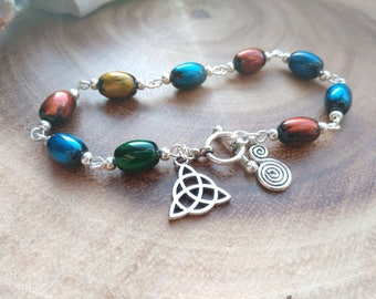 Celtic knot beaded bracelet - colourful swirl charm jewellery painted rice bead bracelet