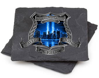 Police Natural Stone Coasters - After Math 911 Police Gift Box (Set Of 2) SKU: FF2092-SC2BX