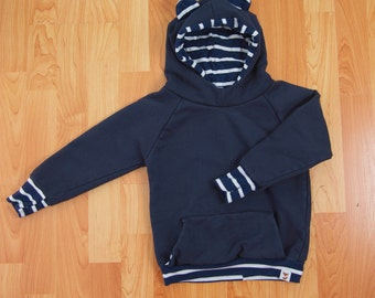 3-9m - CLEARANCE - Certified Organic Cotton Hoodie - Navy with white stripe accents / with Ears, Front Pocket, and Thumb Hole