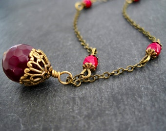 Necklace burgundy agate beaded vintage necklace dark red agate necklace
