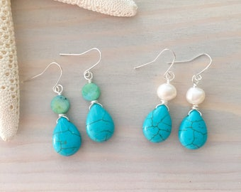 Turquoise Teardrop Earrings - Turquoise and Pearl Earrings - Turquoise Gemstone Jewelry - Blue Gemstone Earrings - Teardrop Stone Earrings
