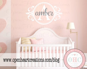 Initial and Name Shabby Chic Wall Decal - Baby Nursery Monogram Vinyl Lettering Decal Sticker 22H x 36W FN0280