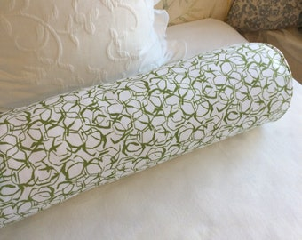 Honeycomb Herb Green Lacefield fabric 8x36 Bolster pillow includes insert