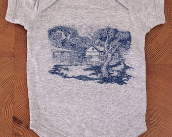 FREE SHIPPING - Valley Green Inn,Wissahickon Valley, Fairmount Park -- Paul Carpenter Art -- Philadelphia Onesie