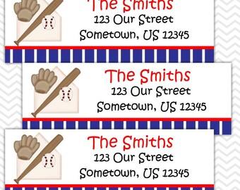 Baseball Sports - Personalized Address labels, Stickers