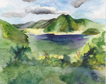 Nature scenery of Picton New Zealand, watercolor