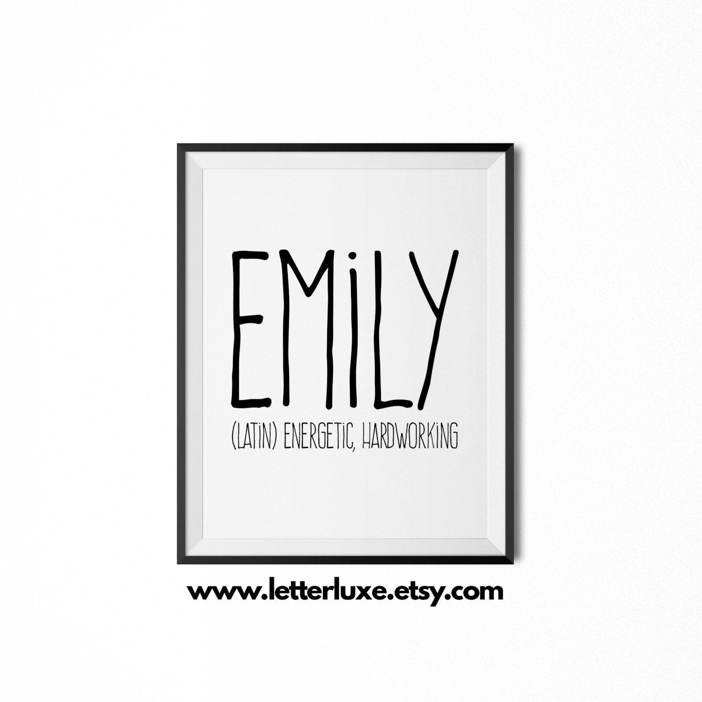 Emily Name Meaning Art Printable Baby Shower Gift Nursery