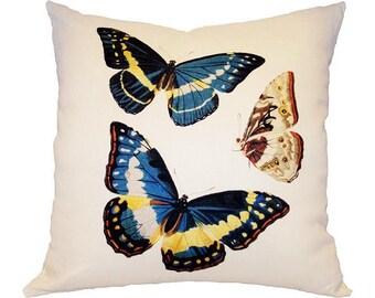 Three Butterflies Linen Pillow